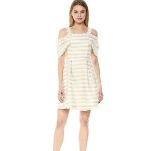 Cream and Tan Off-Shoulder Fringed Mini Dress